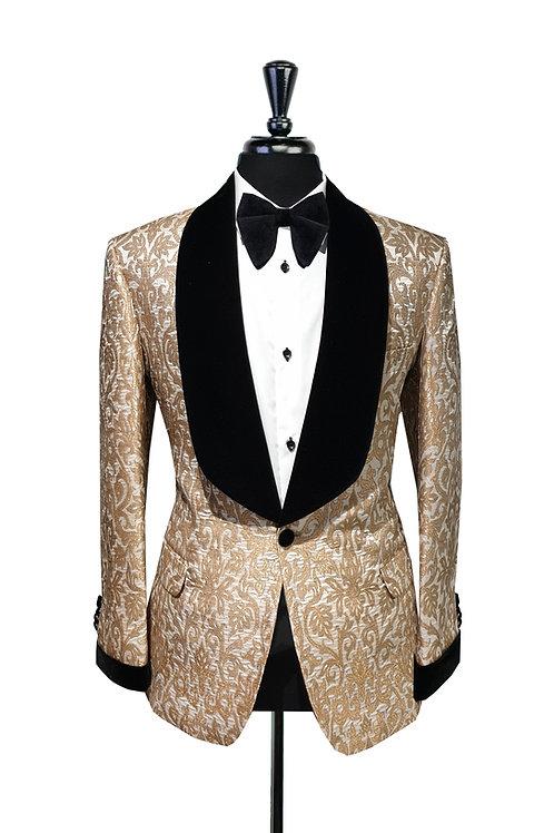 Gold & White Damask Jacquard Jacket