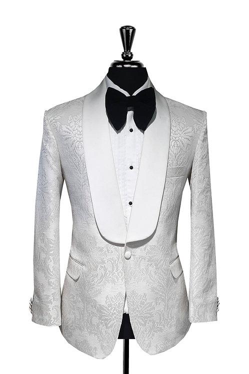 White Damask Jacquard Tuxedo Jacket