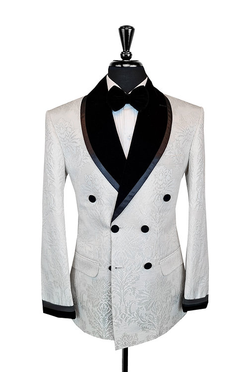 White Damask Jacquard Double Breasted Tuxedo Jacket