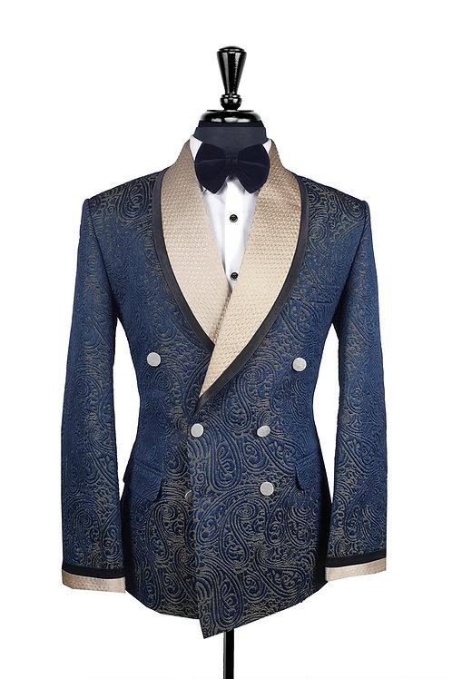 Navy Blue Jacquard Double Breasted Tuxedo Jacket