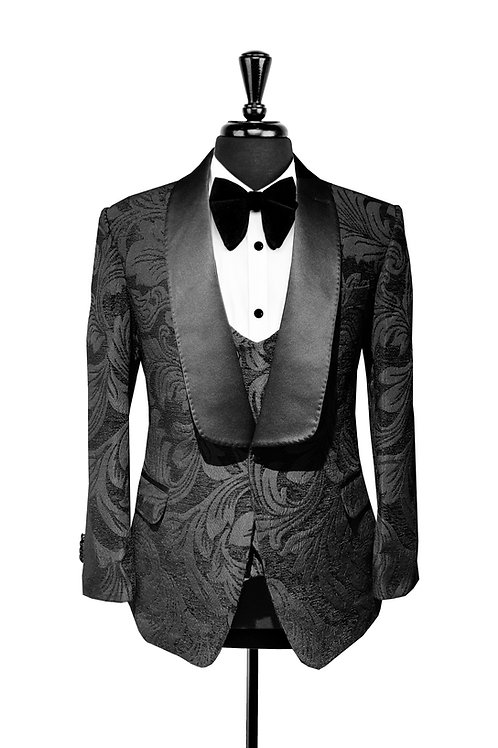 Black Leaf Jacquard Velvet Jacket