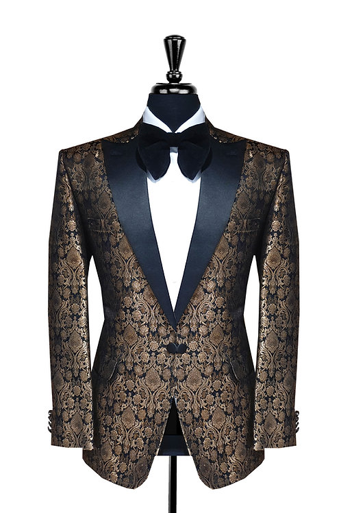 Black & Gold Jacquard Damask Tuxedo Jacket