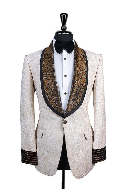 Off White Ivory Jacquard Tuxedo Jacket