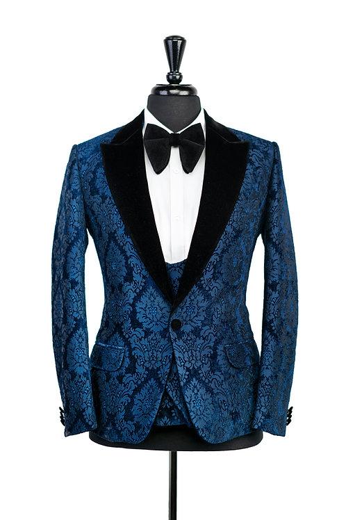 Midnight Blue Damask Jacquard Velvet Jacket