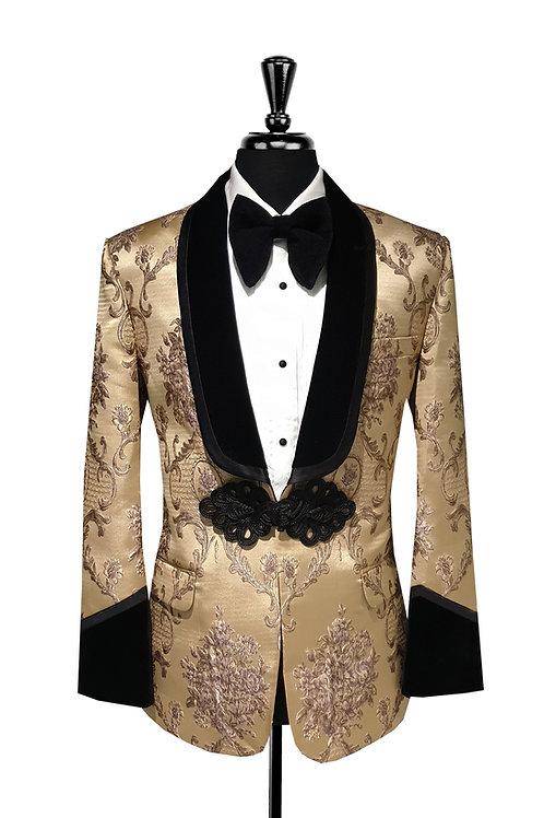 King Collection  - Gold Jacquard Tuxedo Jacket