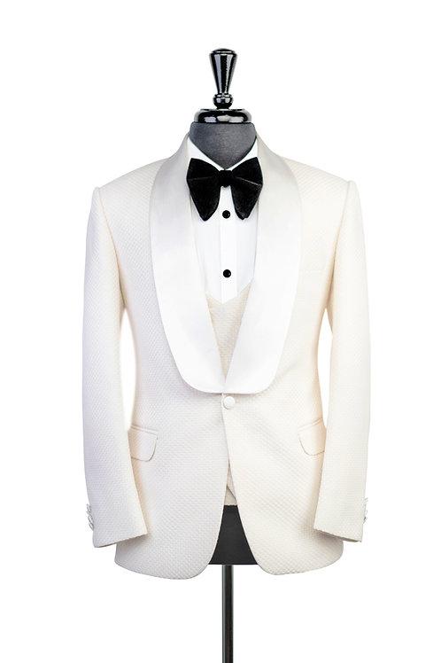 Off White Check Jacquard Tuxedo Jacket