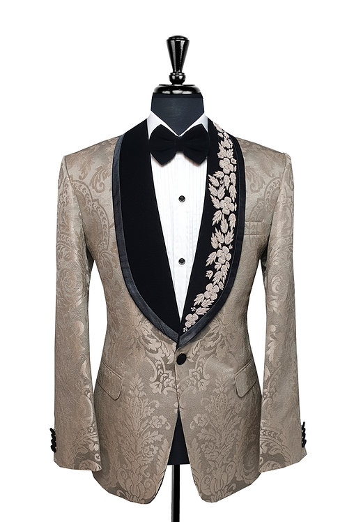 King Collection  - Champagne Damask  Print Jacquard Tuxedo Jacket