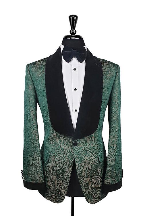 Green Jacquard Single Breasted Tuxedo Jacket