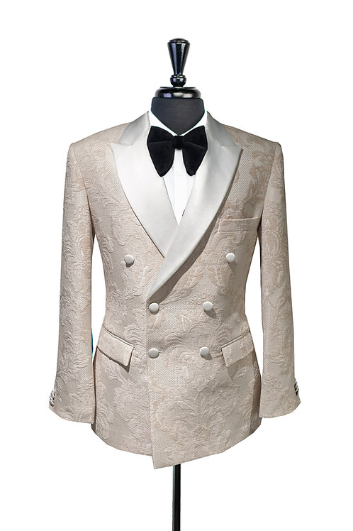 White Damask Double Breasted Jacquard Jacket