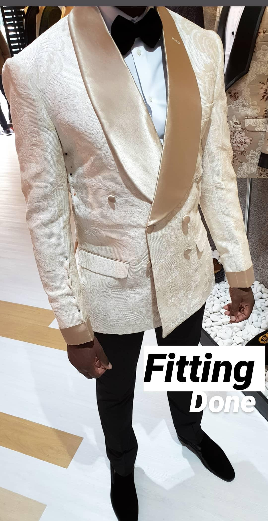 OUT WHITE DOUBLE BREASTED JACKET WITH GOLD LAPELS