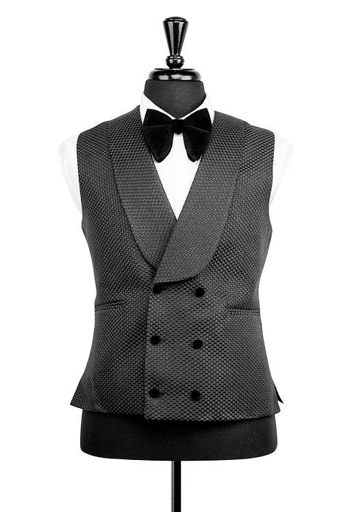Black Check Jacquard Tuxedo Waistcoat