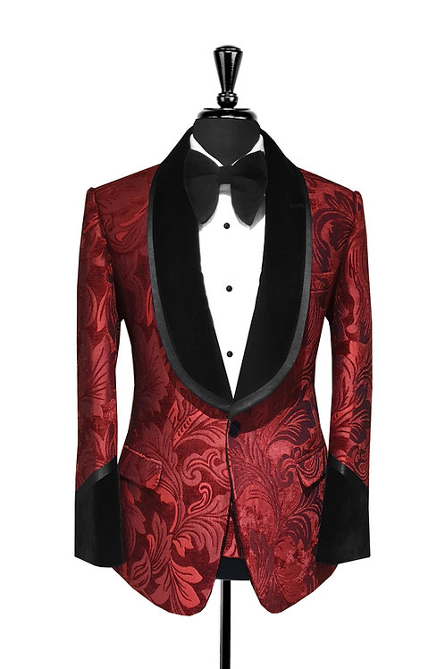 King Collection  - Burgundy Leaf Print Jacquard Velvet Tuxedo Jacket
