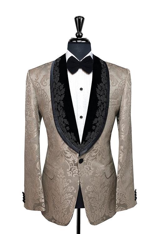 Champagne Damask Print Jacquard Tuxedo Jacket