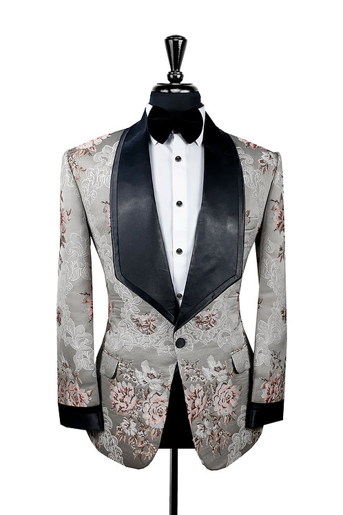 King Collection  - Grey & Pink Jacquard Tuxedo Jacket