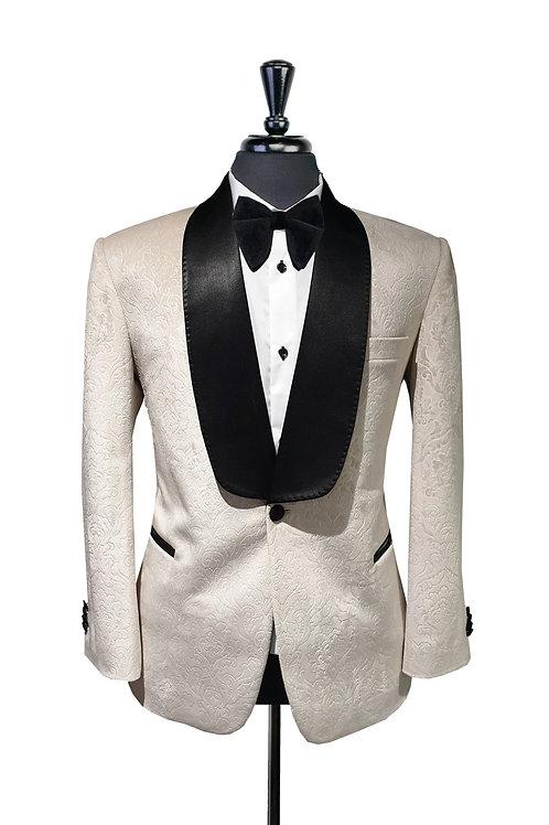 Off White Damask Velvet Jacket