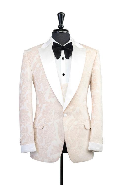 Off White Leaf Jacquard Velvet Jacket