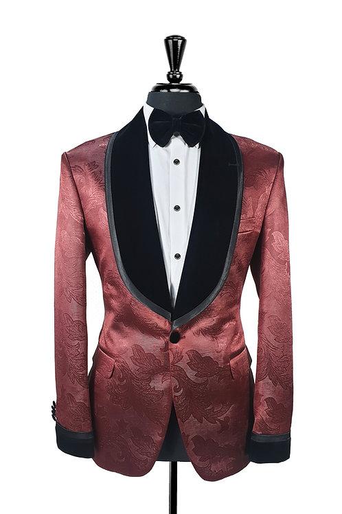 Burgundy Silk Jacquard Tuxedo Jacket