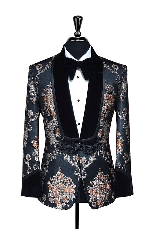 King Collection  - Black & Bronze Jacquard Tuxedo Jacket