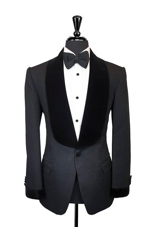 Black Check Jacquard Tuxedo Jacket