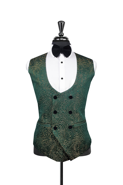 Green Jacquard Double Breasted Waistcoat