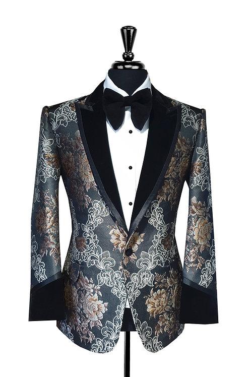 King Collection  - Black & Bronze Jacquard Tuxedo Jacket