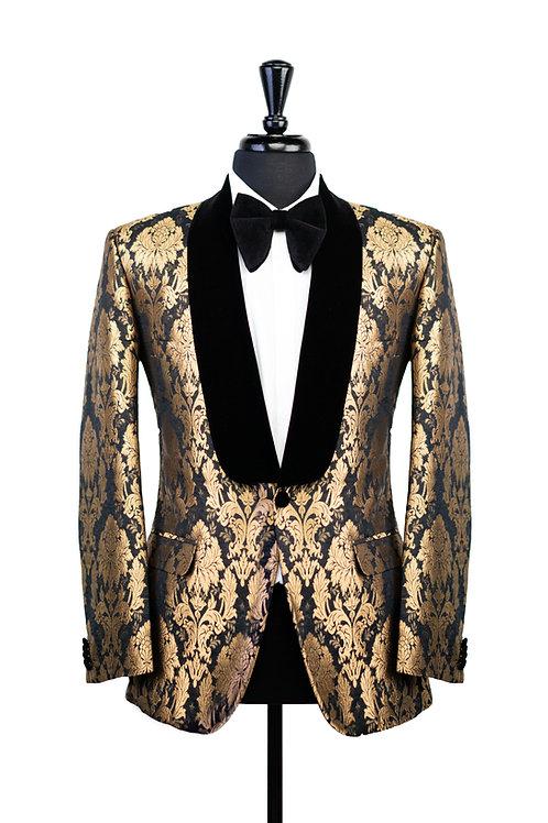Gold & Black Damask Tuxedo Jacket