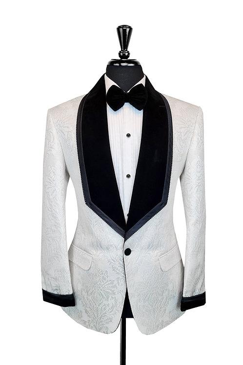 White Damask Jacquard Jacket