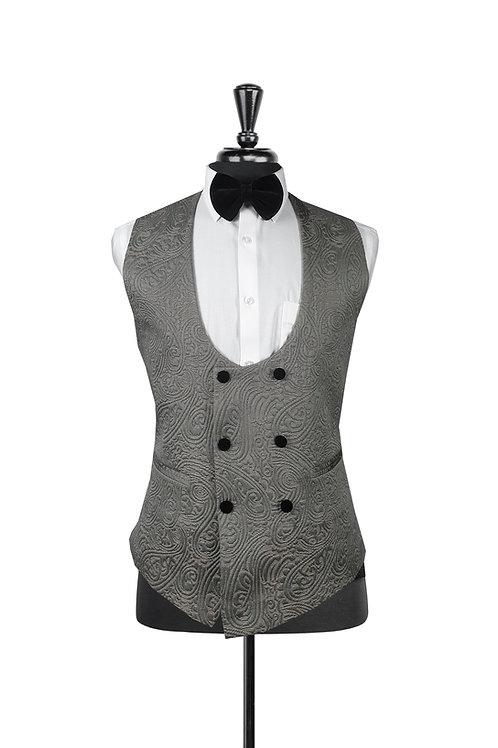 Grey Jacquard Double Breasted Waistcoat