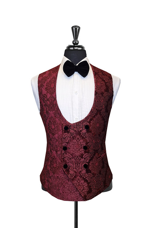 Burgundy Damask Jacquard Double Breasted Waistcoat