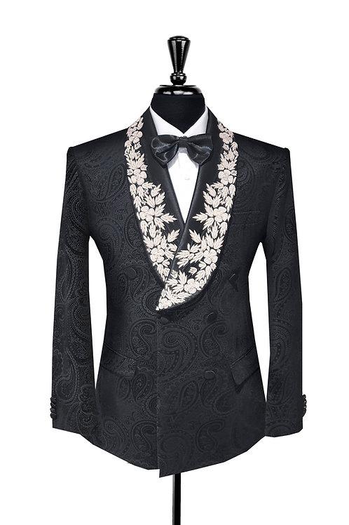 King Collection  - Paisley Print Velvet  & Embroidery Tuxedo Jacket