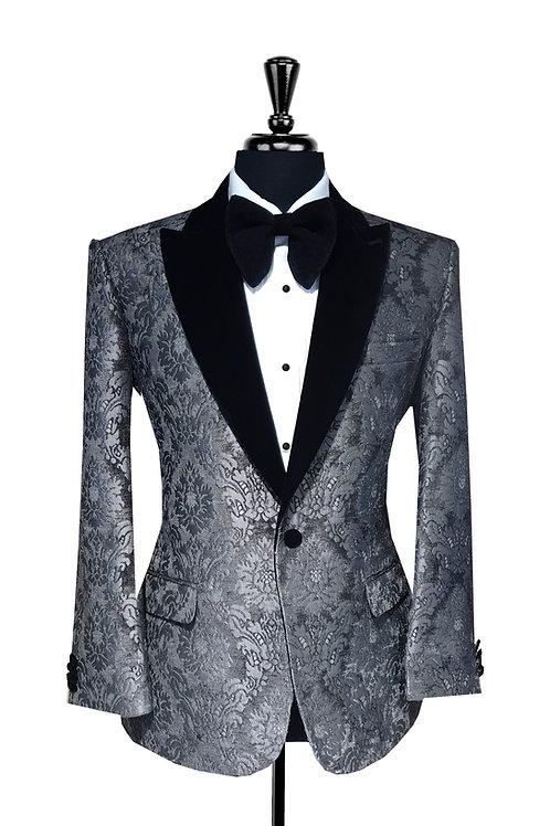 Grey Damask Jacquard Velvet Tuxedo Jacket