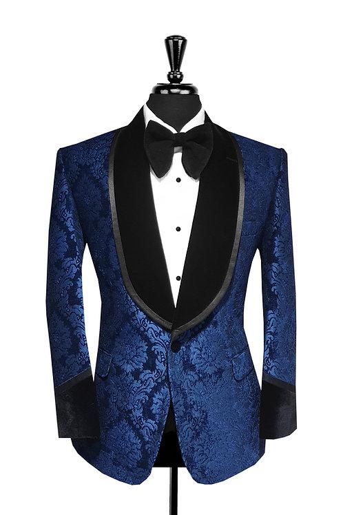 Navy Blue Damask Jacquard Velvet Tuxedo Jacket