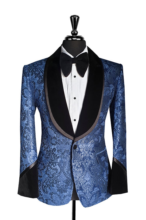 King Collection  - Navy Blue Damask Jacquard Velvet Tuxedo Jacket