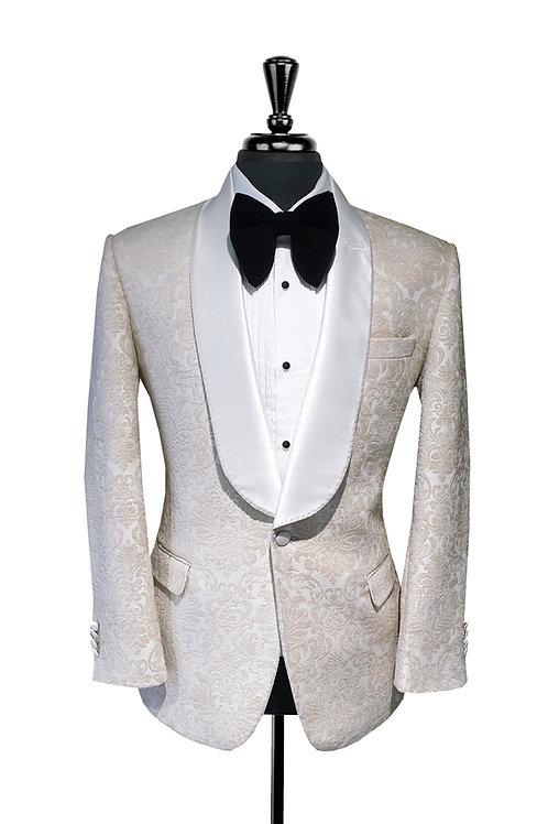 Off White & Ivory Damask Jacquard Velvet Tuxedo Jacket