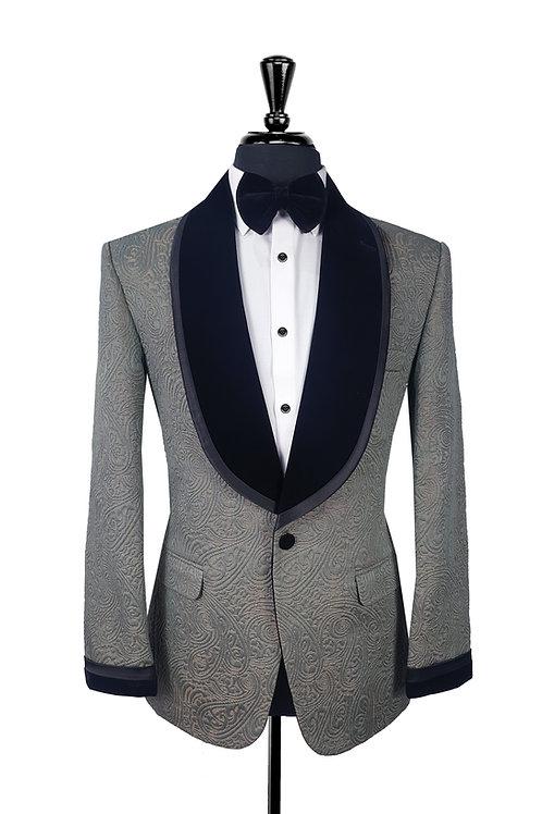 Grey Jacquard Tuxedo Jacket