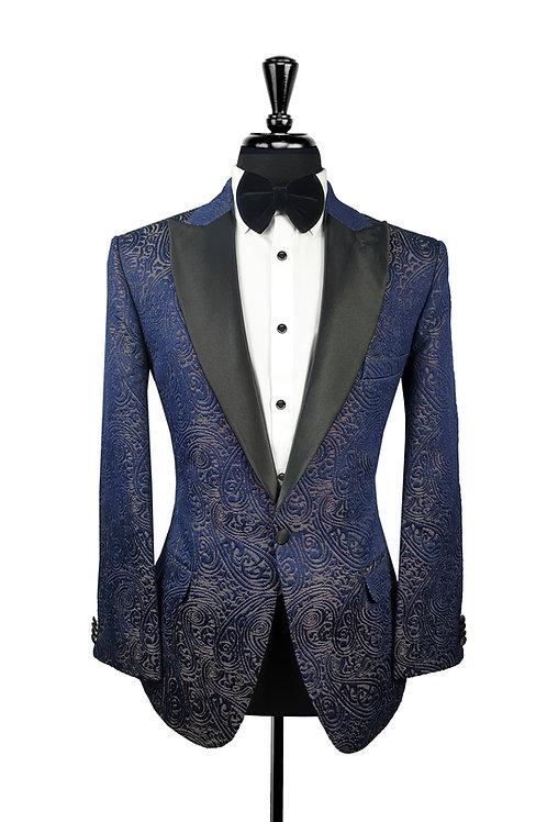 Navy Blue Jacquard Tuxedo Jacket