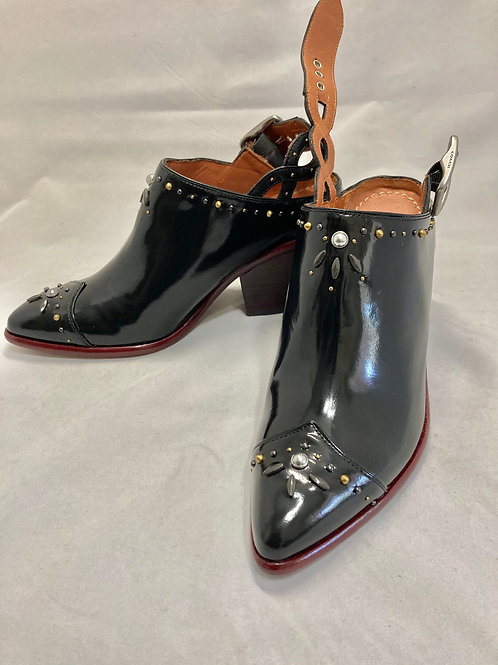 Coach Black Patent leather Studded Western Mule Heeled Clogs Size 5B rare