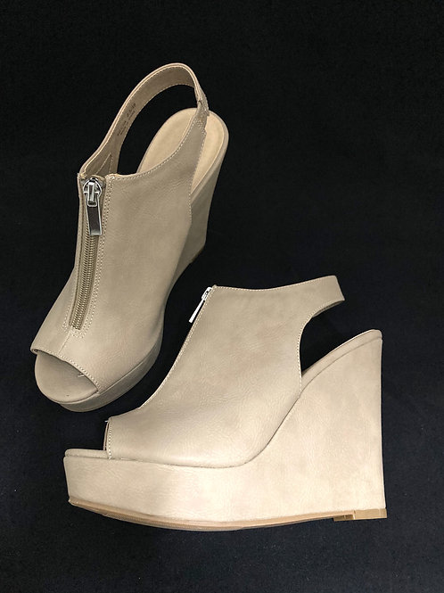 Chinese Laundry Tan High Wedge Sling back Sandals Women 8.5 Peep Toe Shoes