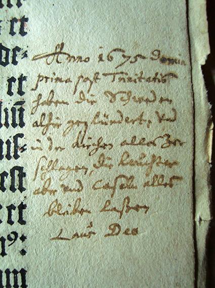 Messbuch, handschriftliche Eintragung