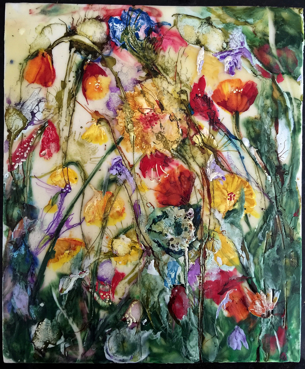 Encaustic wax image of flowers by Melanie Williams