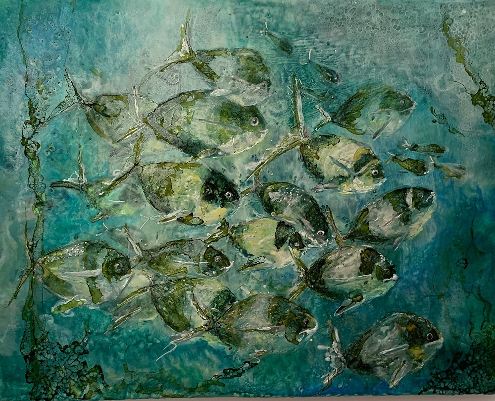 Encaustic painting of fish