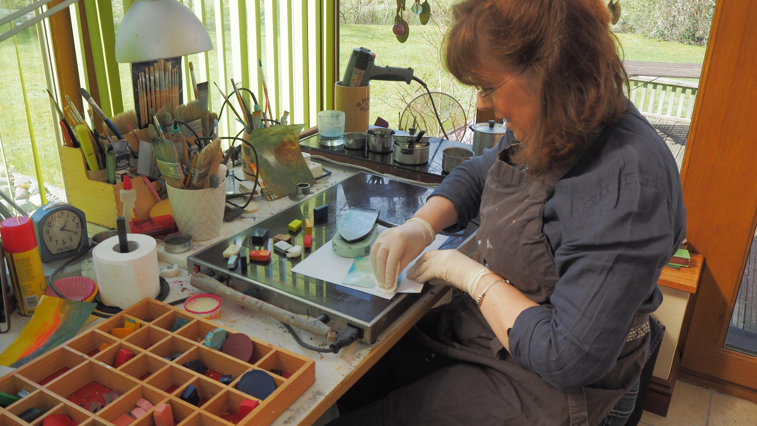 Mel in her studio