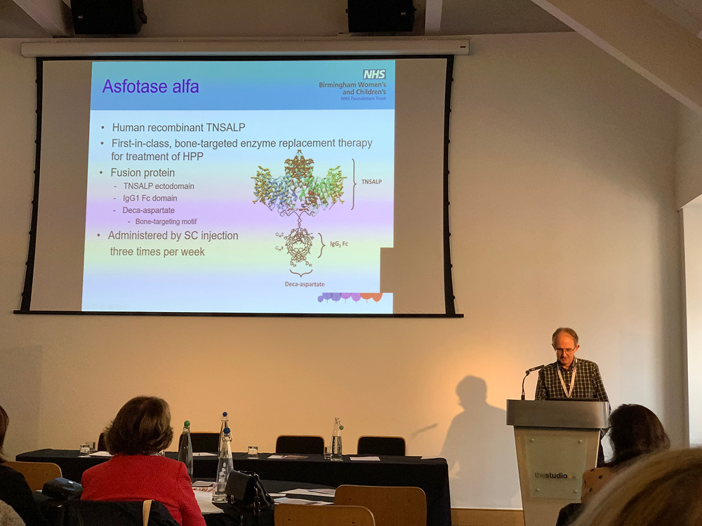 A slide showing information about Asfotase Alfa and Professor Nick Shaw from Birmingham Children's Hospital