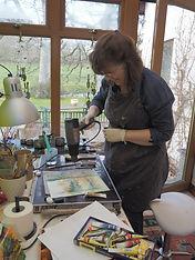 Mel in her studio in Bala