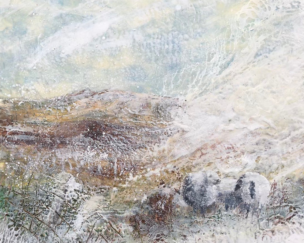Encaustic Artwork - Arenig and sheep in the Snow