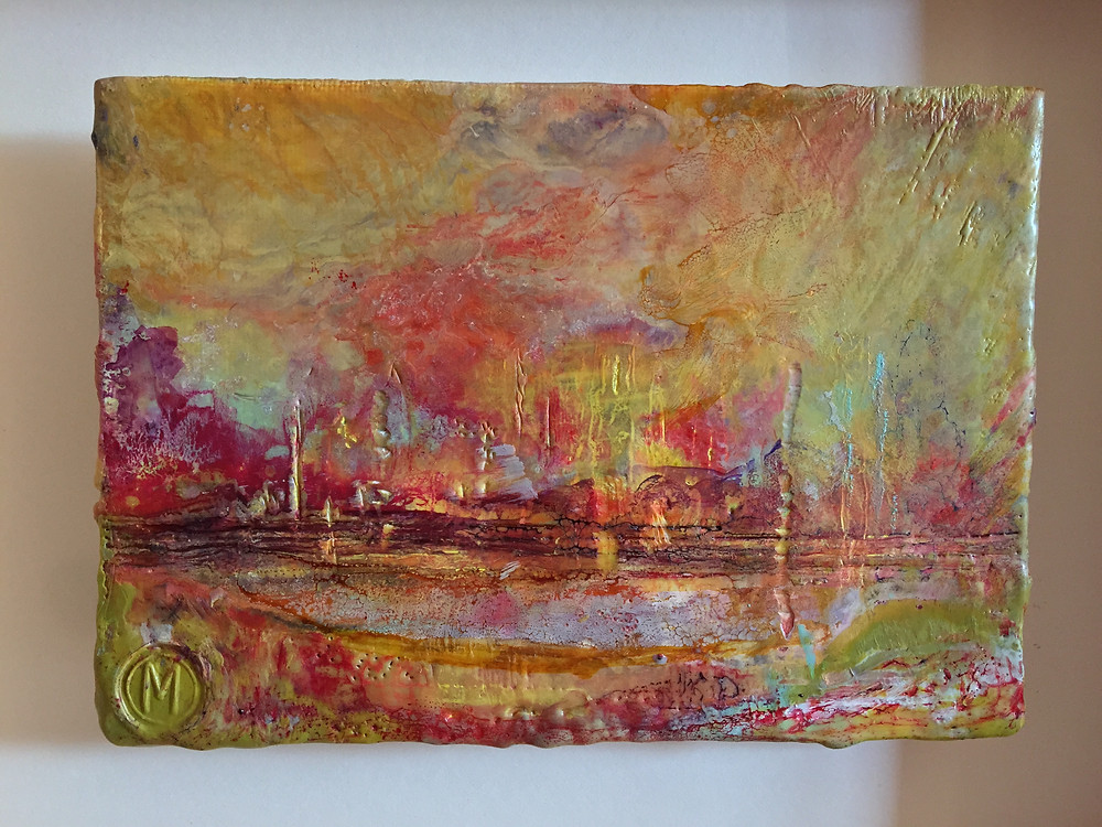 Encaustic Artwork - Town by Melanie Williams
