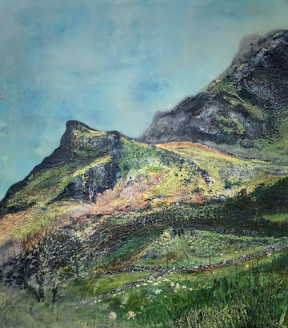 Nantlle Valley - an encaustic painting by Melanie Williams