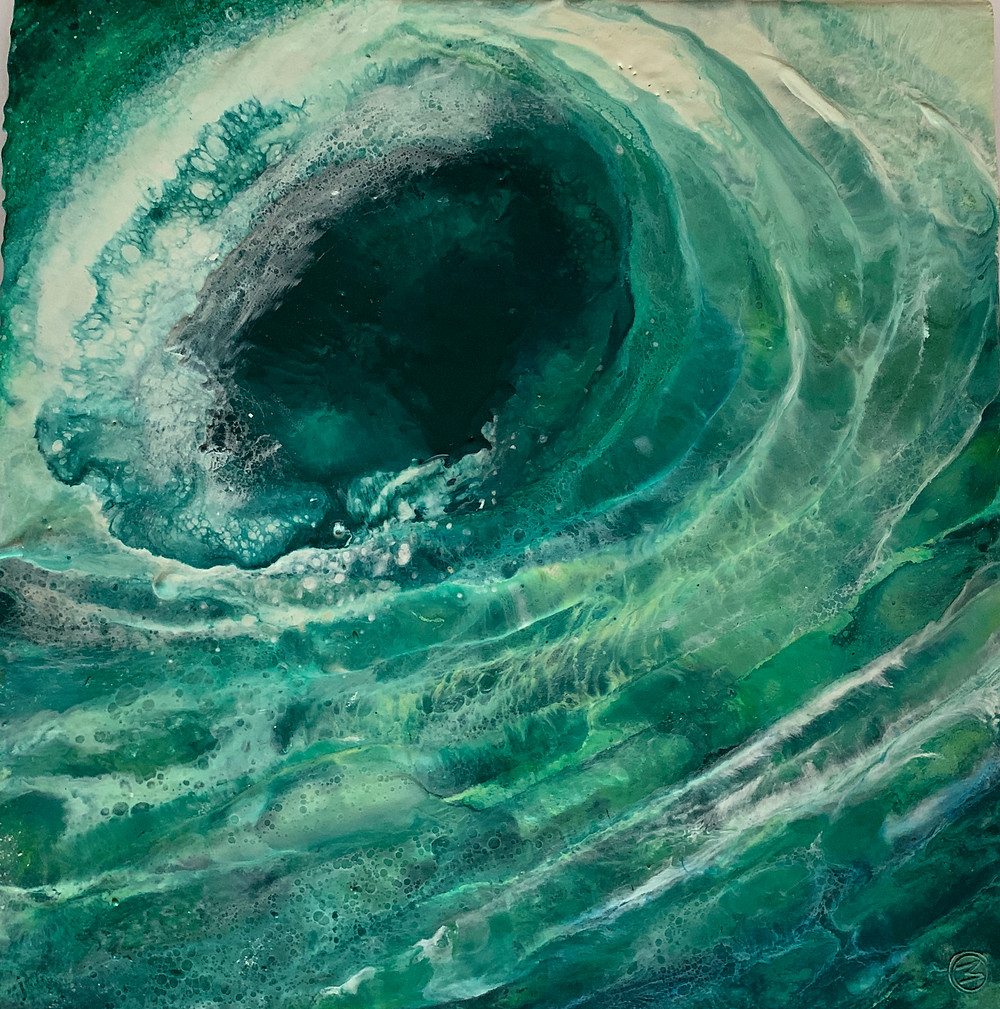 A painting of a wave created in encaustic wax
