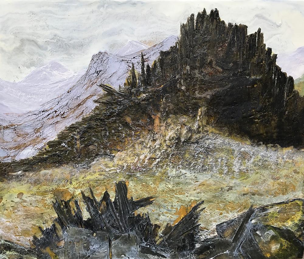 Encaustic Mixed Media painting by Melanie Williams - Castell y Gwynt