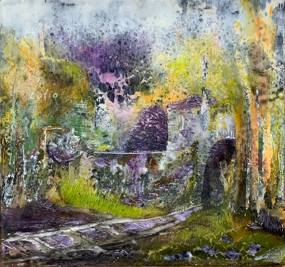 An impression of a quarry in encaustic wax